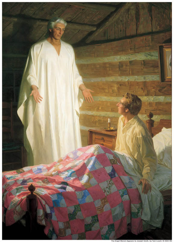 Official Mormon Story of a hot, barely dressed dude (Joseph Smith History 1: 31-32) visiting him in the night and making him promise not to tell.